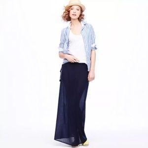 J.Crew Gauze Maxi Skirt in Navy Blue